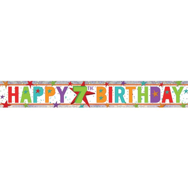Holographic Happy 7th Birthday Foil Banner